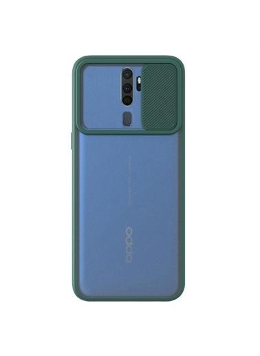 Microsonic Oppo A5 2020 Kılıf Slide Camera Lens Protection Kırmızı Yeşil